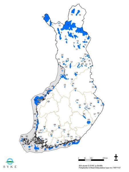 Suomen IBA-alueet.