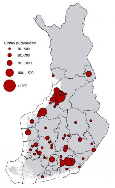 Laulujoutsenten määrät kunnittain (yli 300 joutsenen kunnat).