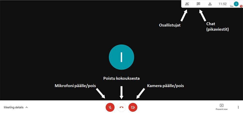 Google Meet näkymä läppärissä